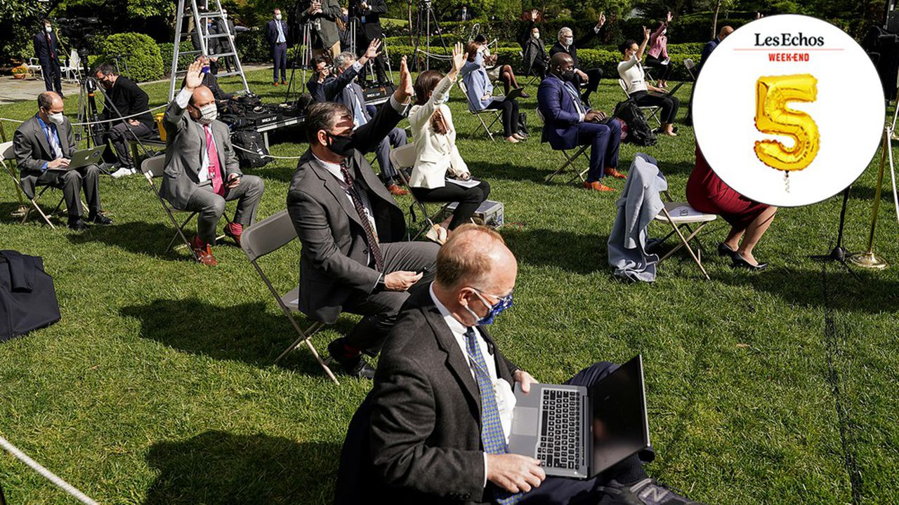 Des journalistes au point presse de la Maison-Blanche