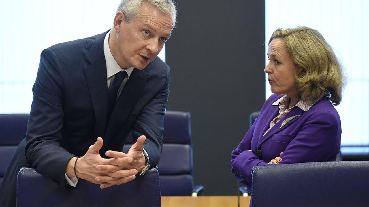 La ministre espagnole de l'Economie et des entreprises, Nadia Calvino et le ministre français des Finances, Bruno Le Maire ont participé jeudi à un échange de vues avec les entreprises des deux pays réunies à Paris par le Medef.