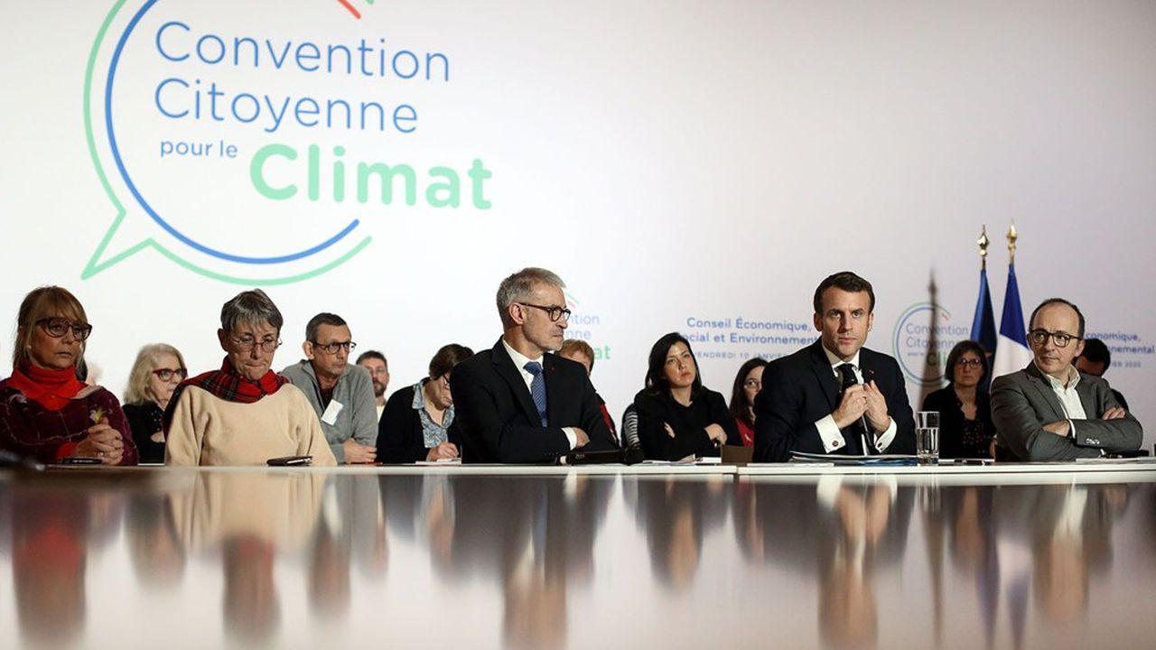 Le président de la République, Emmanuel Macron, lors de la Convention citoyenne pour le climat, le 10janvier 2020.