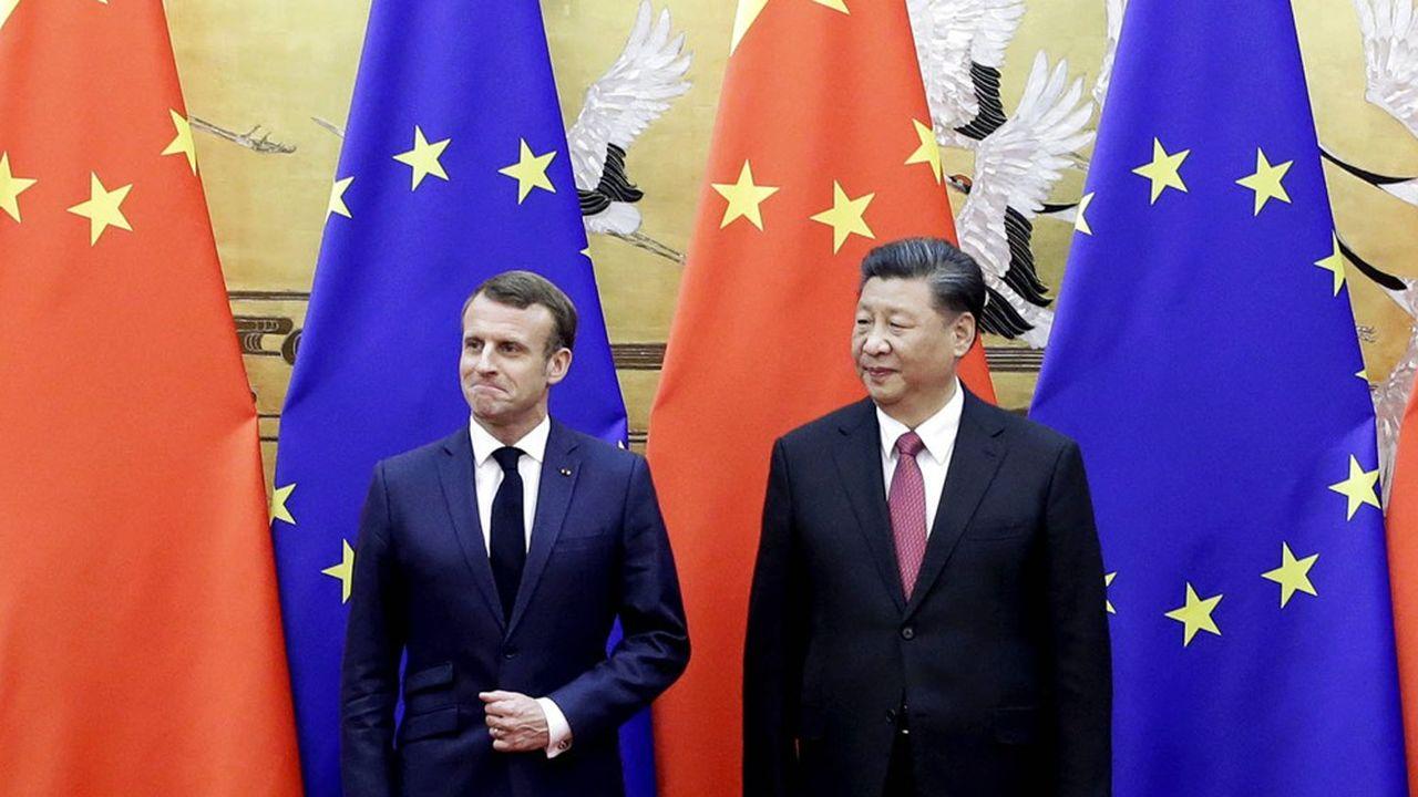 Le président français Emmanuel Macron et le président chinois Xi Jinping, le 6 novembre 2019, lors d'une cérémonie à Pékin.