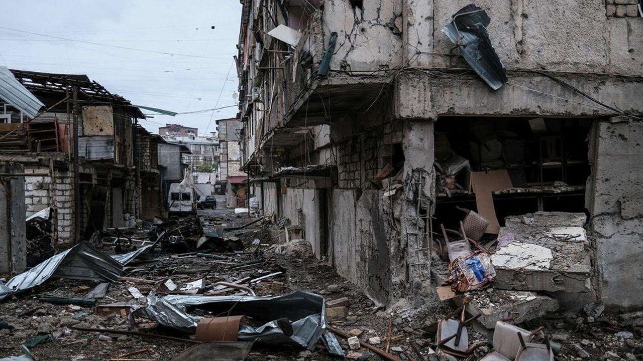 Au lendemain d'un bombardement à Stepanakert, dans le Haut-Karabakh, le 5 octobre 2020.