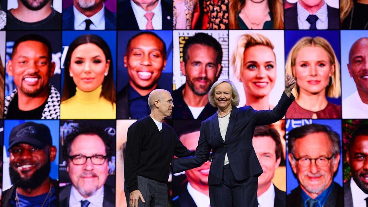 La CEO de Quibi, Meg Whitman, et son fondateur, Jeffrey Katzenberg, en janvier2020 au Consumer Electronics Show (CES) de Las Vegas.