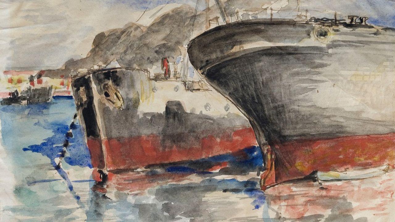 Paul Valéry « Cargos dans le port de Sète» (oeuvre non datée). Encre de Chine et aquarelle sur papier.
