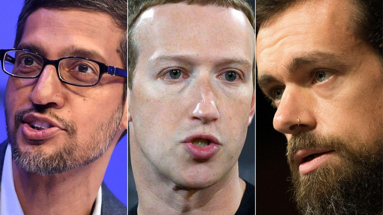 Sundar Pichai, Mark Zuckerberg et Jack Dorsey