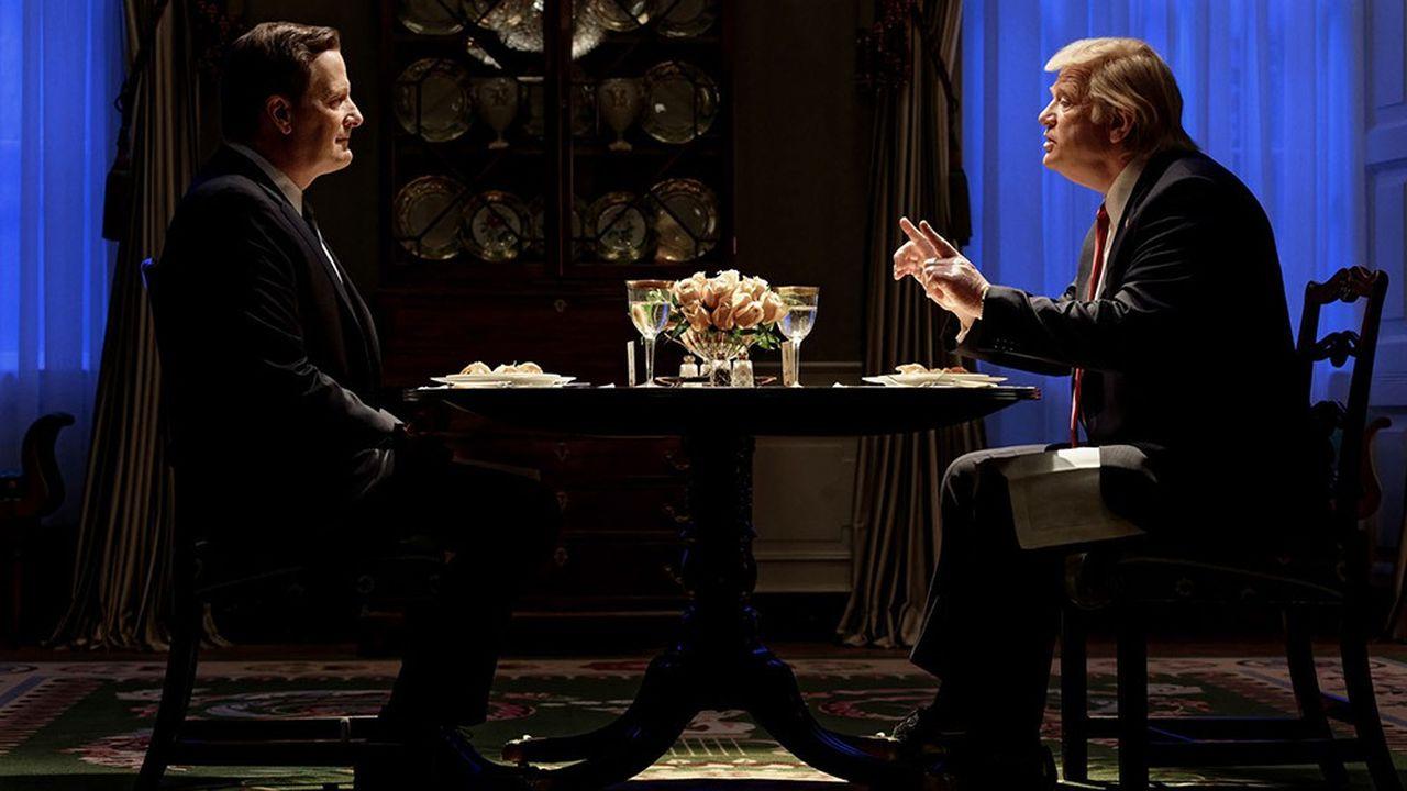 Dîner en tête-à-tête entre James Comey (Jeff Daniels) et Donald Trump (Brendan Gleeson).