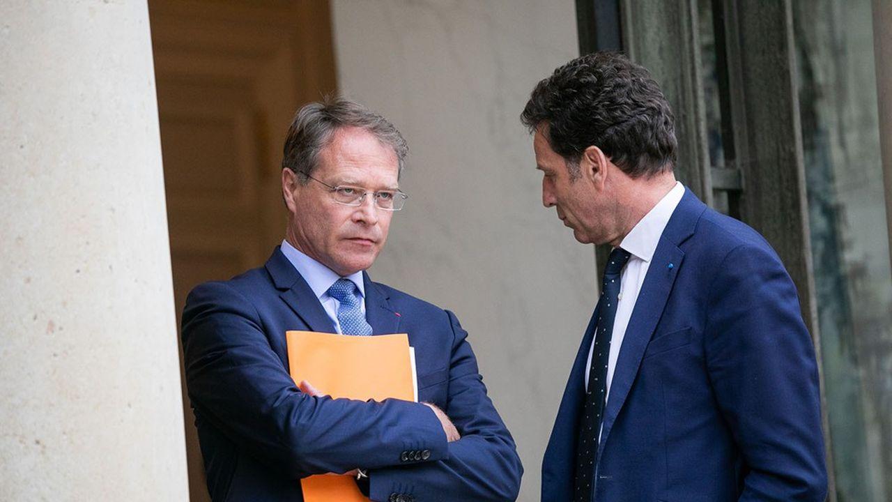 Francois Asselin, président de la CPME, et Geoffroy Roux de Bezieux, président du Medef.