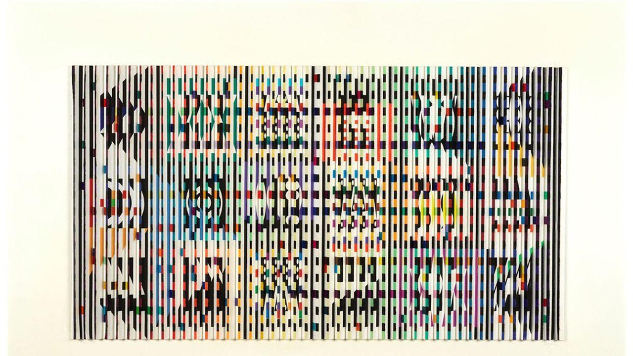 8. Yaacov AGAM (Né en 1928) SANS TITRE, 1972 Sérigraphie sur papier fort en relief Présenté dans un emboîtage en plexiglas Epreuve d'artiste signée et justifiée EA 2/9 Situé « Paris » et daté « 1972 » au dos « à Monsieur et Madame Georges Pompidou » 46 x 70 x 5 cm