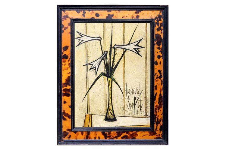 1. Bernard BUFFET(1928 - 1999)Trois lys dans un vaseHuile sur isorelSignée en bas à droite22 x 16 cm