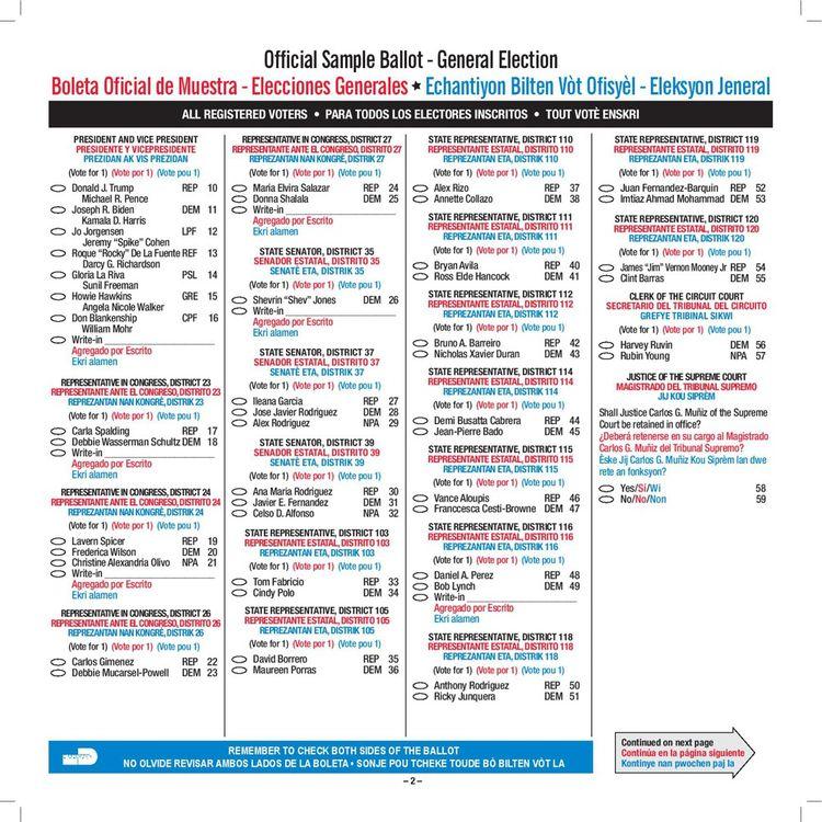 Première page du bulletin de vote pour le comté de Miami-Dade