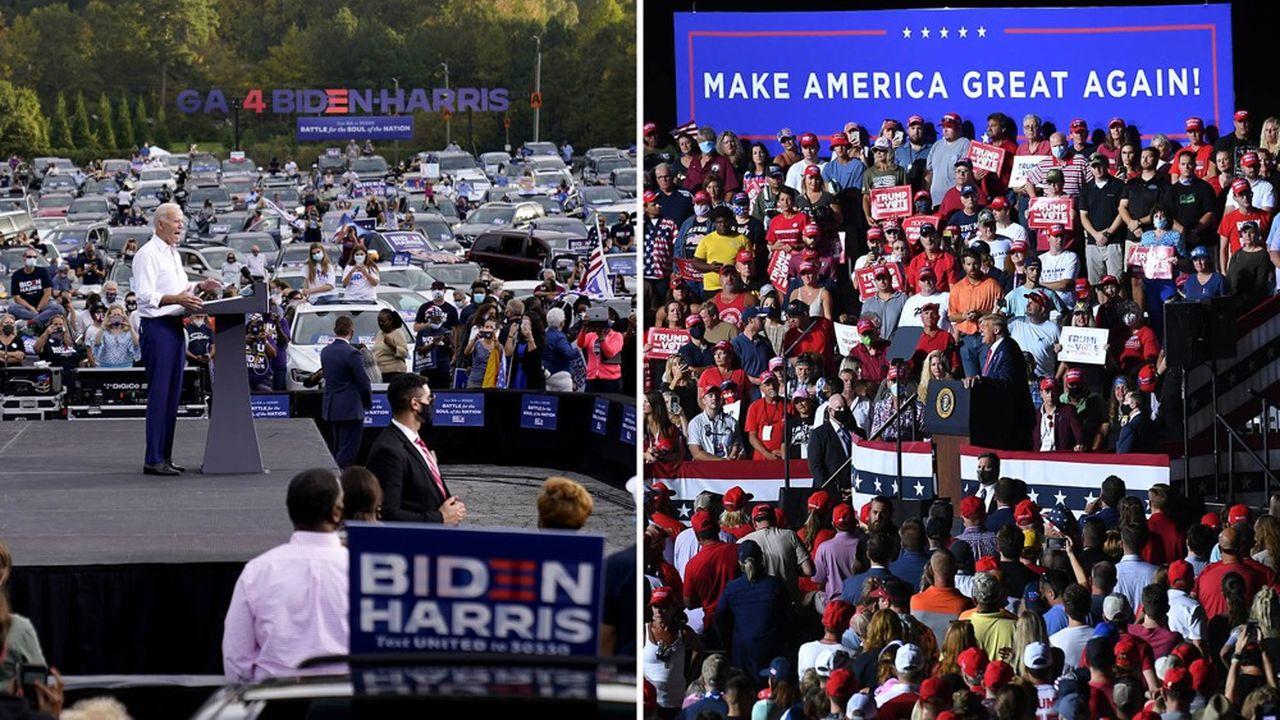Différence de méthode entre les deux candidats: Joe Biden a organisé des «drive in» meetings dans la dernière ligne droite, quand Donald Trump réunissait des centaines de personnes, sans geste barrière...