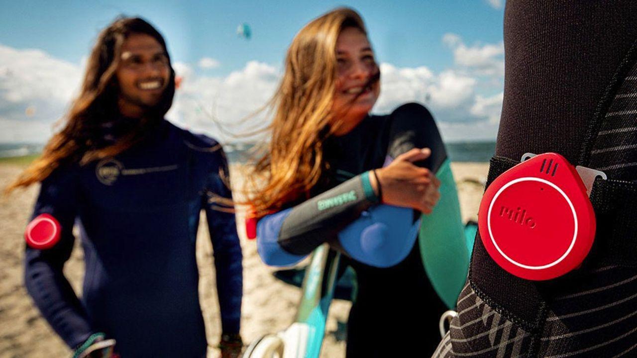 Etanche et portant jusqu'à 600 mètres, le dispositif radio Milo peut être utilisé en mer pour le surf ou la planche à voile.