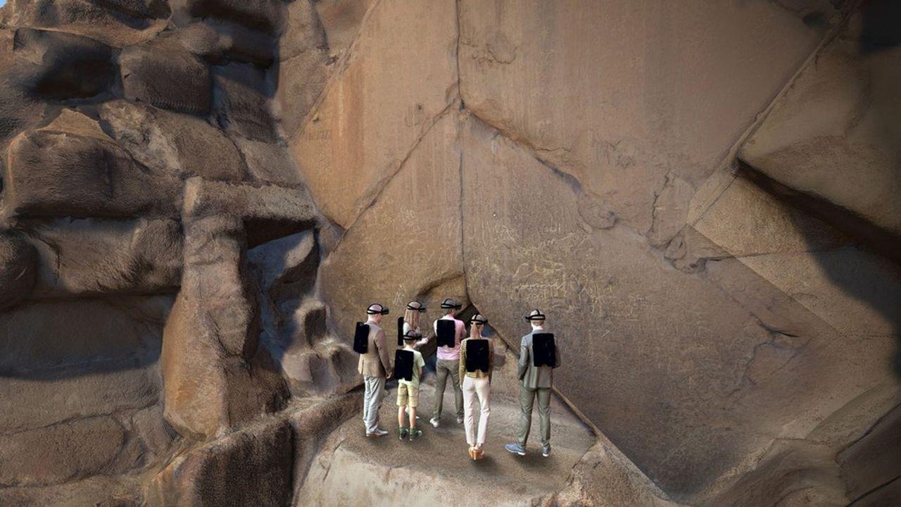 Le logiciel développé par Emissive permet de plonger les visiteurs d'un musée dans un monument de l'humanité. Elle démarre avec une expérience au sein de la pyramide de Khéops.