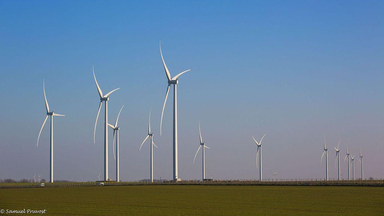 Des éoliennes de la société InnoVent installées à Buire-le-Sec au sud de Montreuil-sur-Mer, dans le Pas-de-Calais.