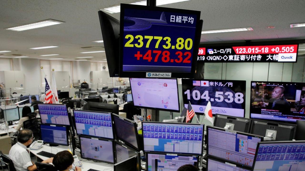 Peu avant la clôture, le Nikkei 225 de Tokyo se présentait comme l'un des indices les plus confiants de la zone Asie, avec une poussée de 2%.