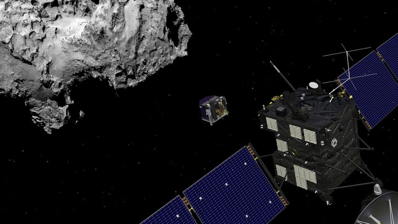 Vue d'artiste du déploiement par la sonde Rosetta de l'atterrisseur Philae. Celui-ci s'est posé sur la comète Tchouri le 12novembre 2014.