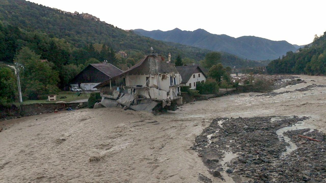 Une maison dévastée par les intempéries du mois d'octobre dans le sud de la France.