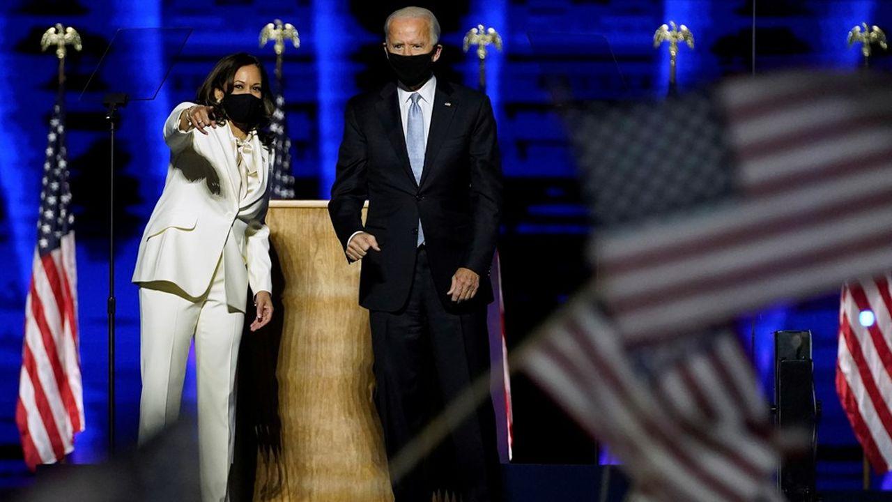 Joe Biden et Kamala Harris ont fait samedi leur première apparition en tant que président et vice-présidente élus des Etats-Unis, à Wilmington dans l'Etat du Delaware.