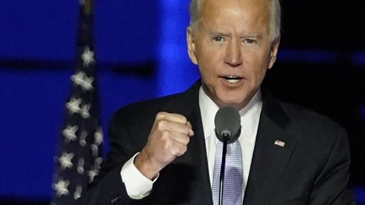 Joe Biden, président-élu des Etats-Unis, lors de son discours victorieux à Wilmington (Delaware), le 7 novembre.