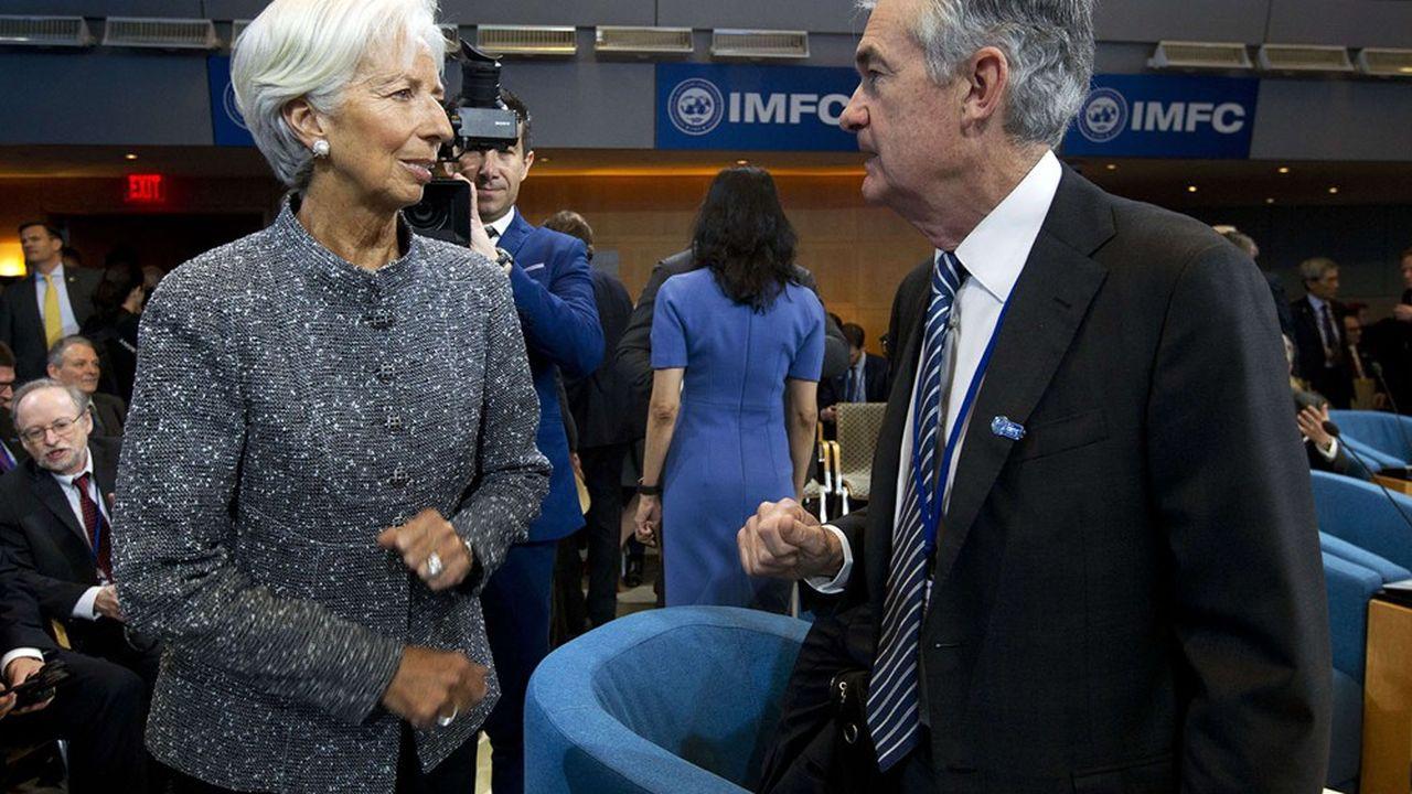 Christine Lagarde, alors directrice générale du FMIet Jerome Powell, présidentde la Réserve fédérale américaine, en avril2019.