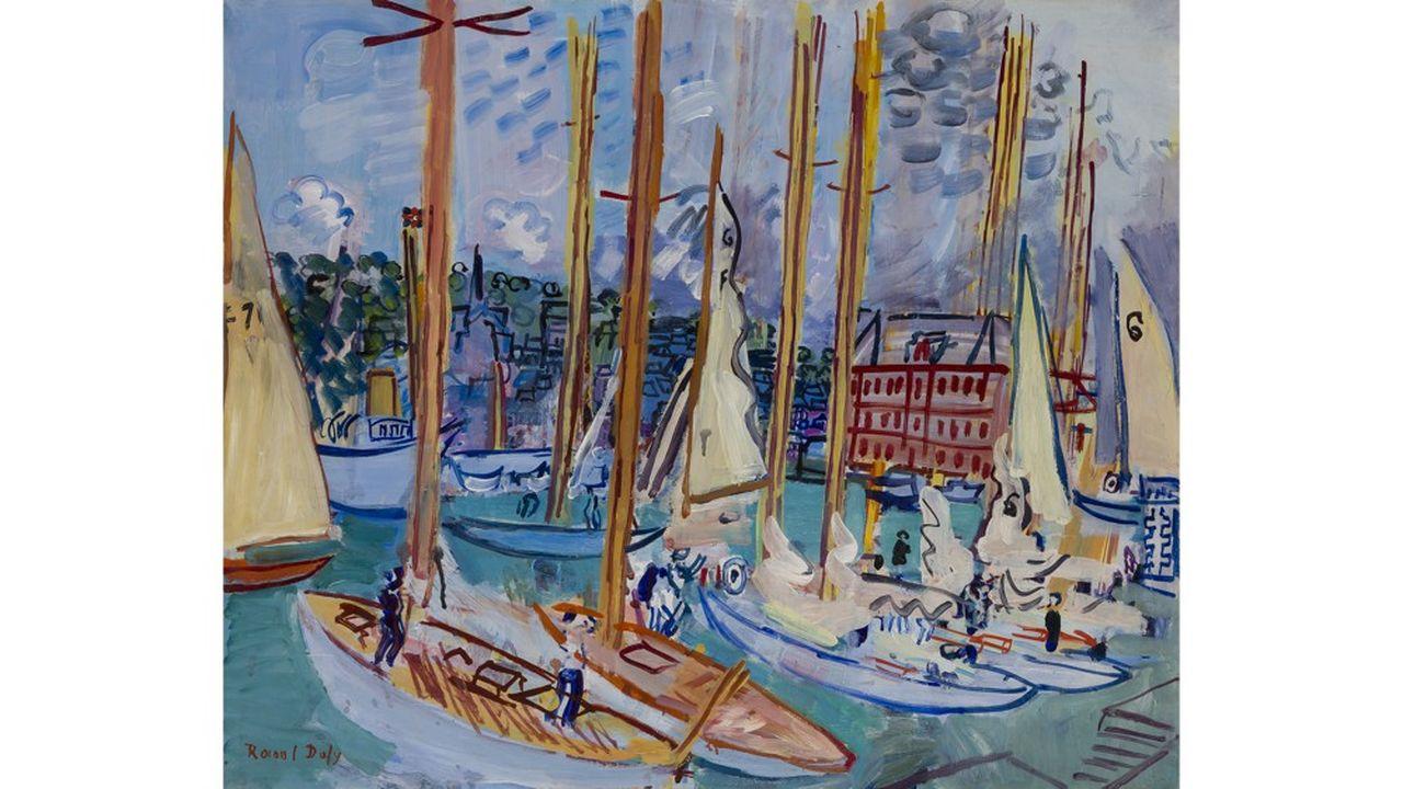 Raoul Dufy (1877-1953), «Voiliers dans le port de Deauville», vers 1935, huile sur toile, signée en bas à gauche.