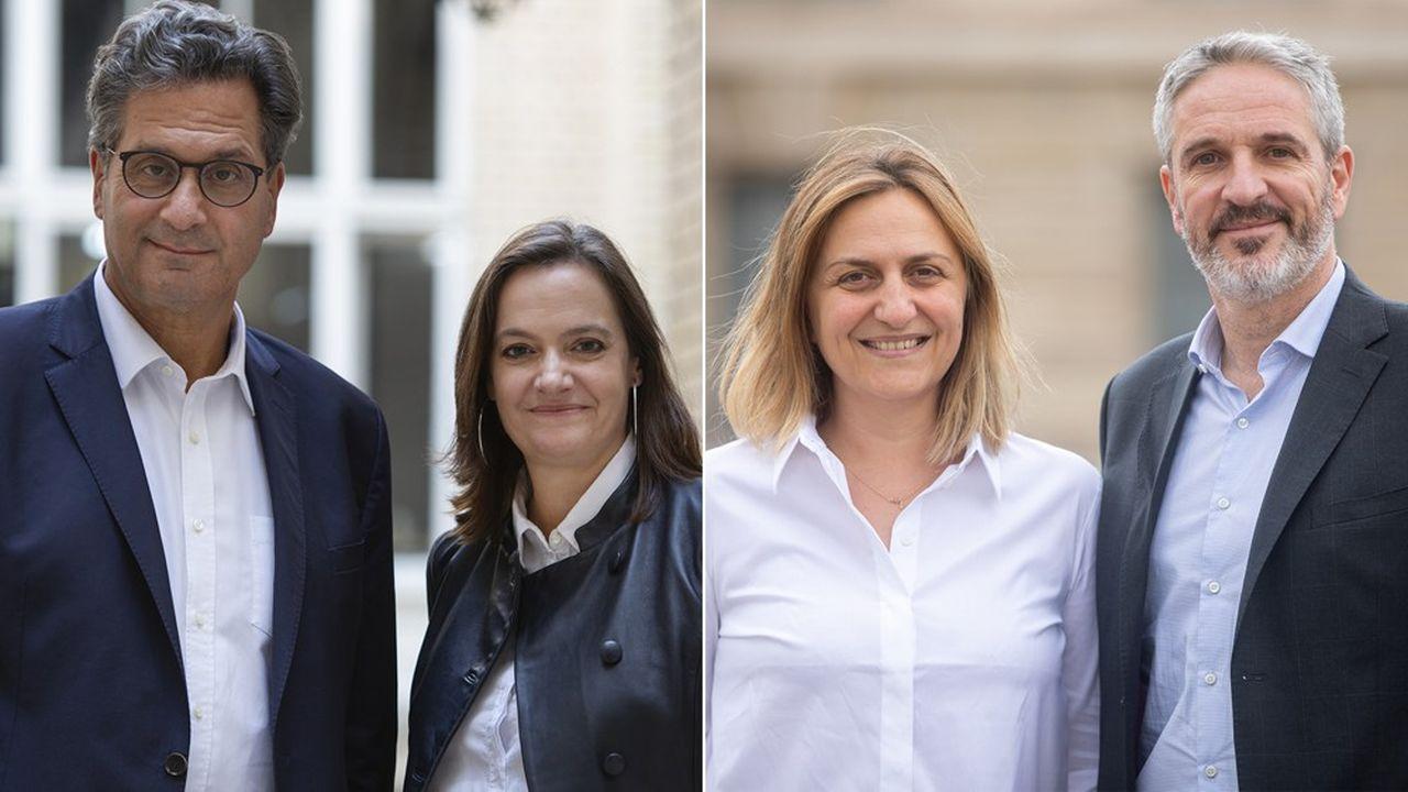 De gauche à droite: Vincent Nioré et Julie Couturier affrontent Clotilde Lepetit et Xavier Autain pour les postes de bâtonnier et vice-bâtonnier du barreau de Paris.