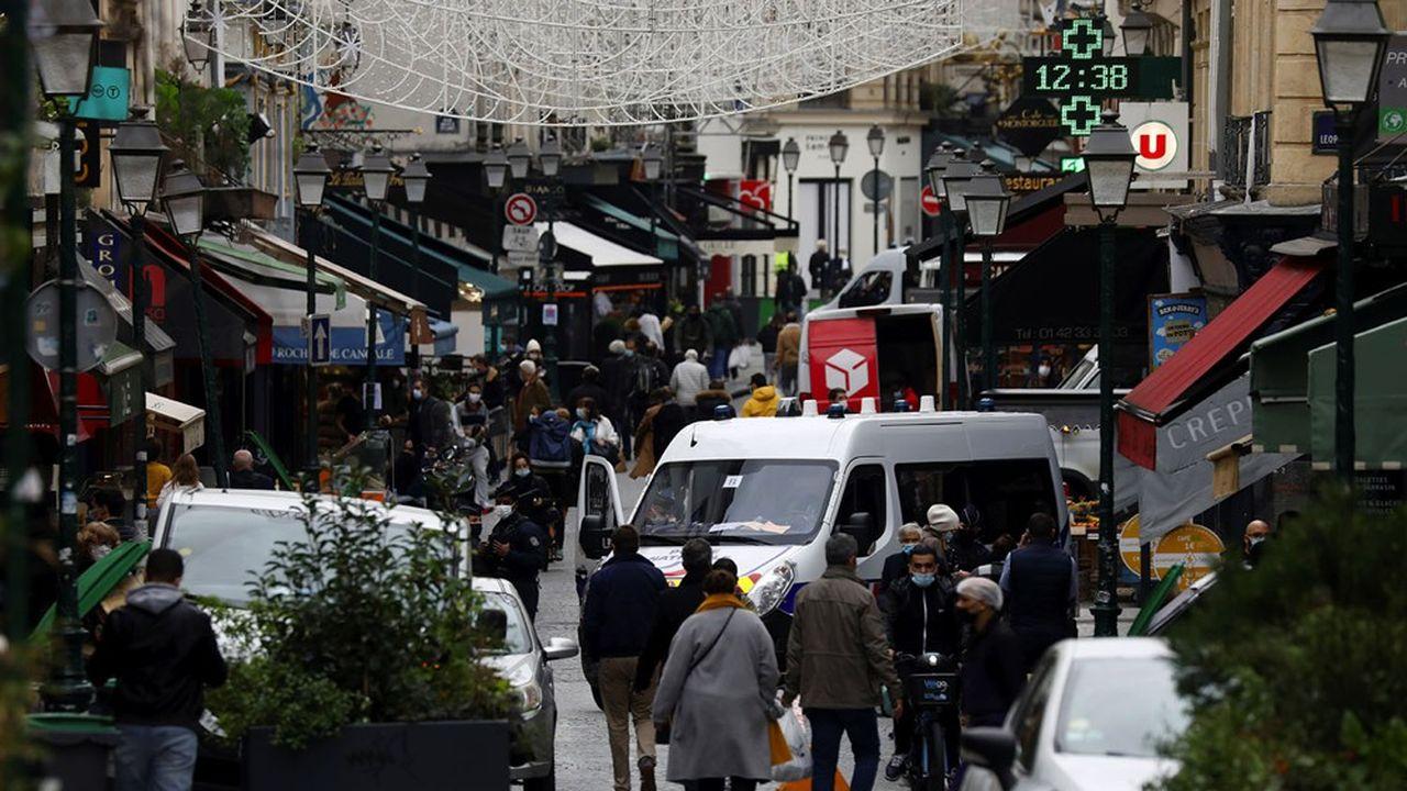 La rue Montorgueil, à Paris, le 30 octobre 2020, premier jour de reconfinement.REUTERS/Charles Platiau