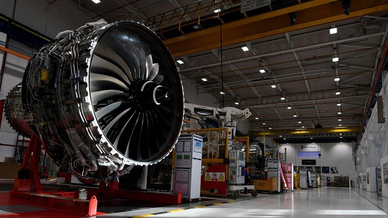 Un moteurd'avion Trent XWB assemblé par Rolls Royce dans l'usine de Derby, au centre de l'Angleterre.