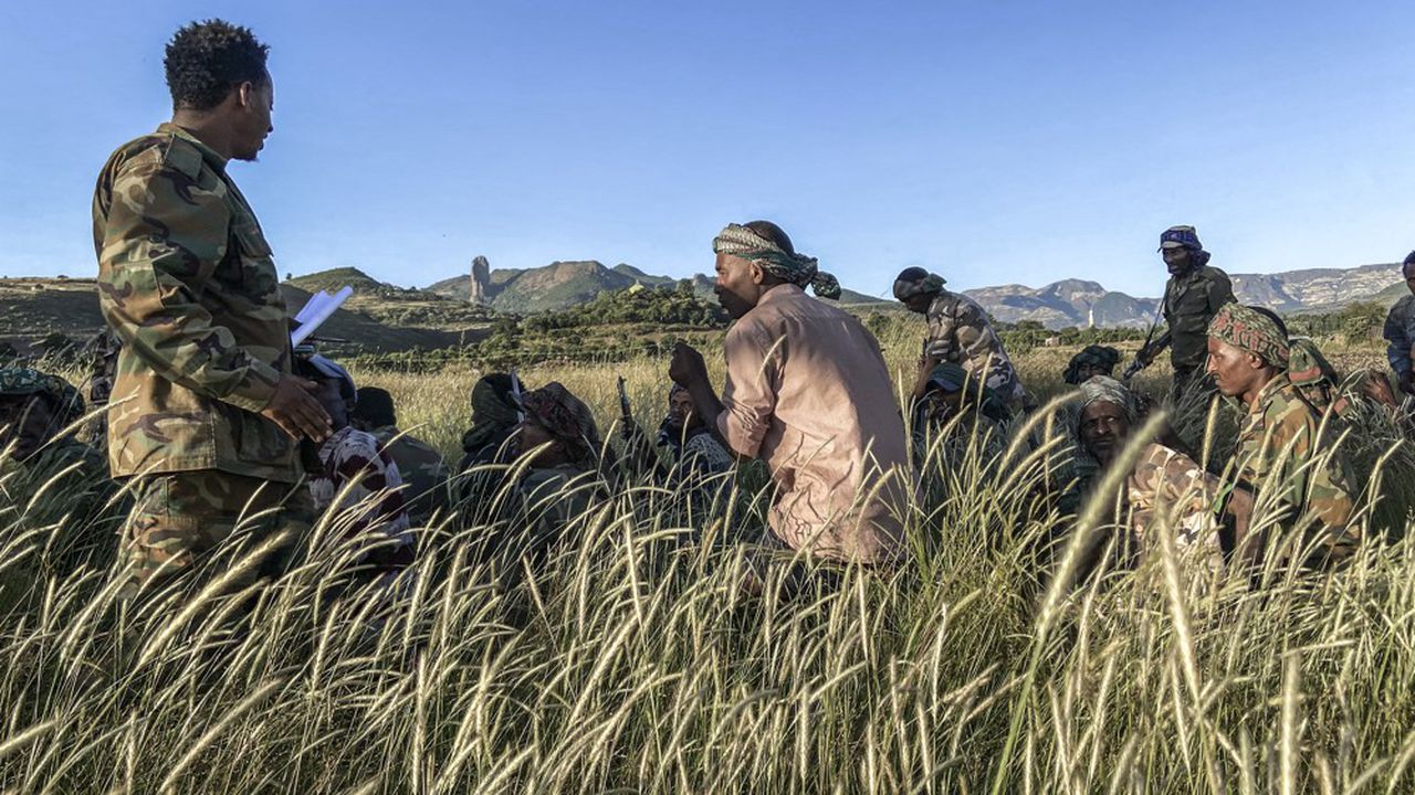 Des miliciens Amhara à l'entrainement. Ils combattent aux côtés des forces fédérales d'Ethiopie les autorités du Tigré.