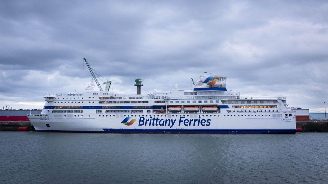 Le «Pont-Aven», bâtiment de la compagnie Brittany Ferries, amarré au port duHavre.