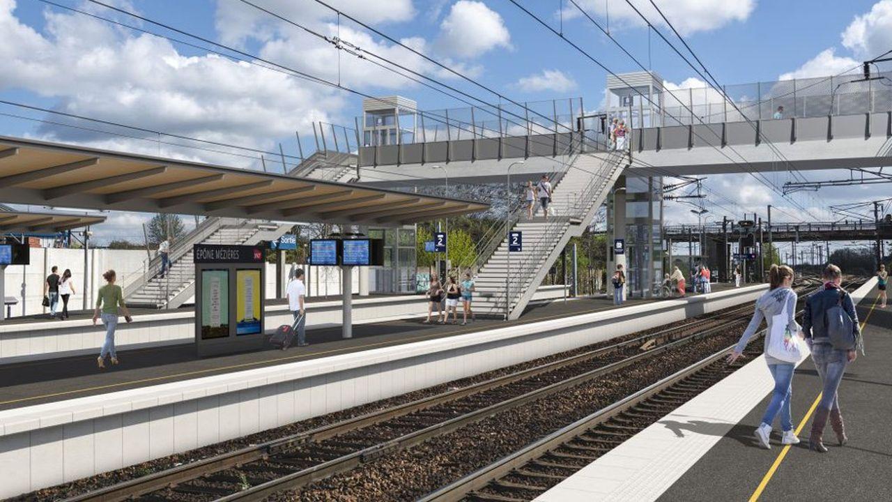 La nouvelle passerelle accessible mise en service mi-2021, fait partie du grand plan de rénovation de la gare