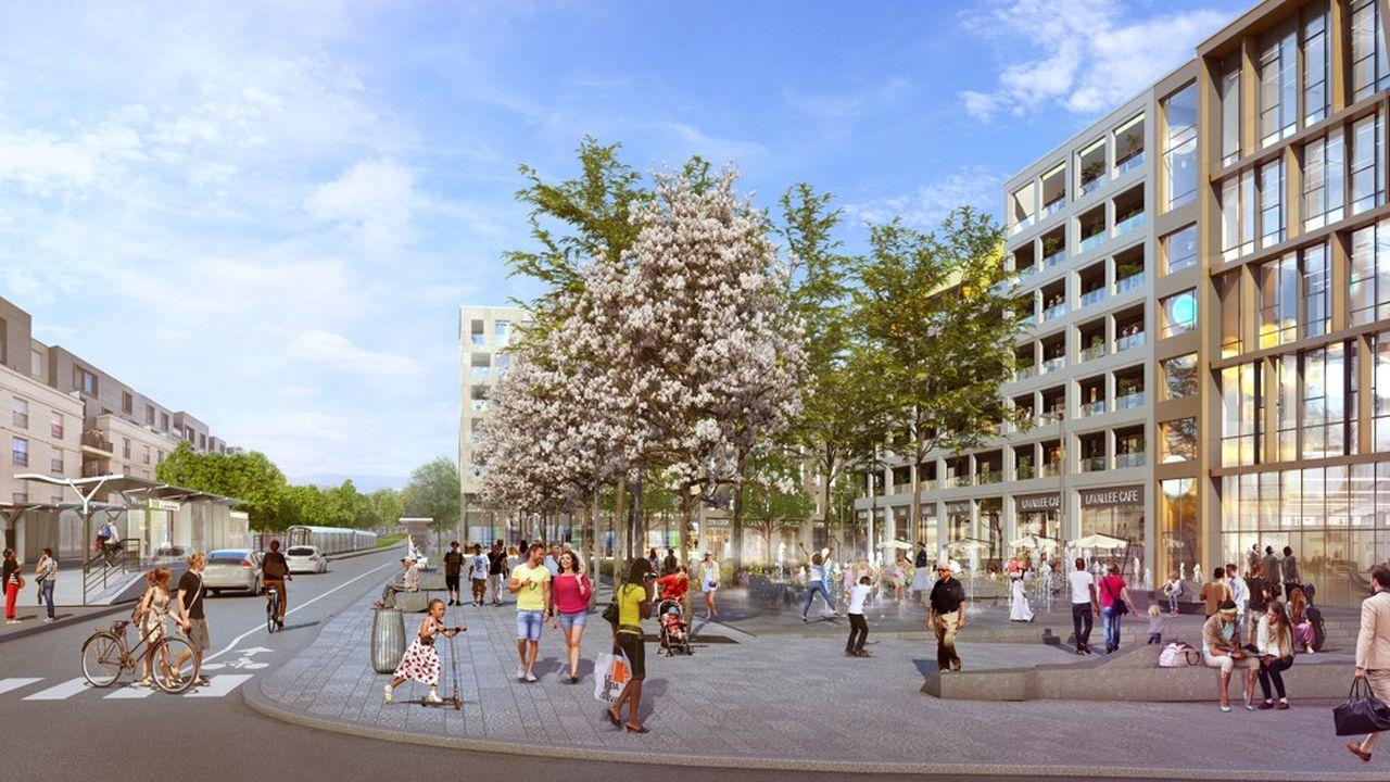 La future place LaVallée avec le siège social de Lidl France, qui quitte ainsi Rungis, des logements et des commerces en rez-de-chaussée.