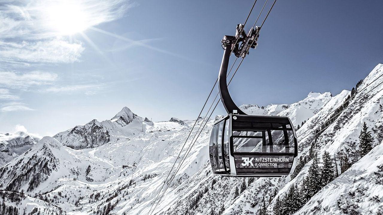 Le téléphérique reliant la station de Kaprun, en Autriche, au sommet du Kitzsteinhorn et à son domaine skiable sur glacier.