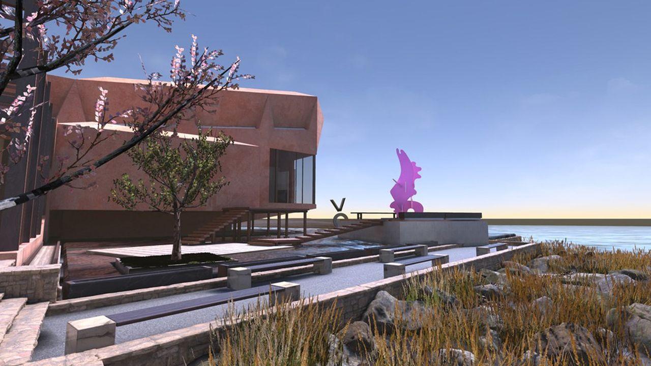 «Pinga» (2020), sculpture de Misha Milovanovich exposée «en plein air» dans le cadre sublime du VoMA, musée totalement virtuel.