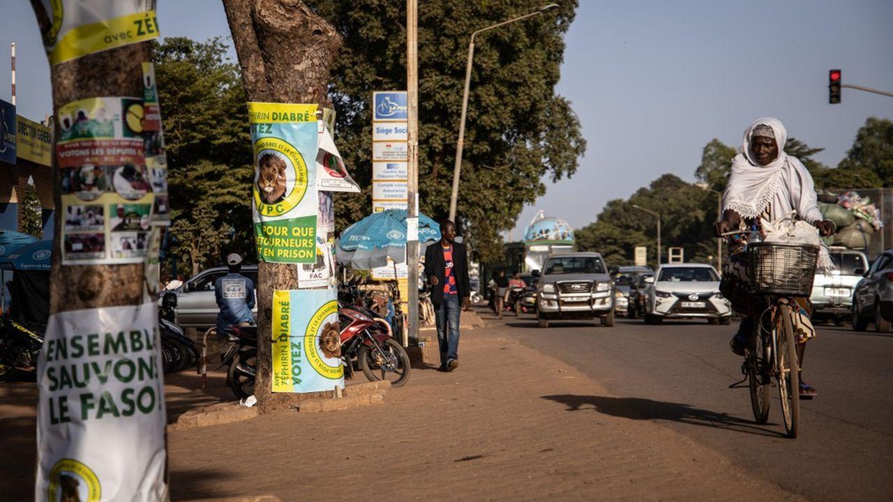 Campagne d'affichage électoral sur les arbres d'une avenue à Ouagadougou.