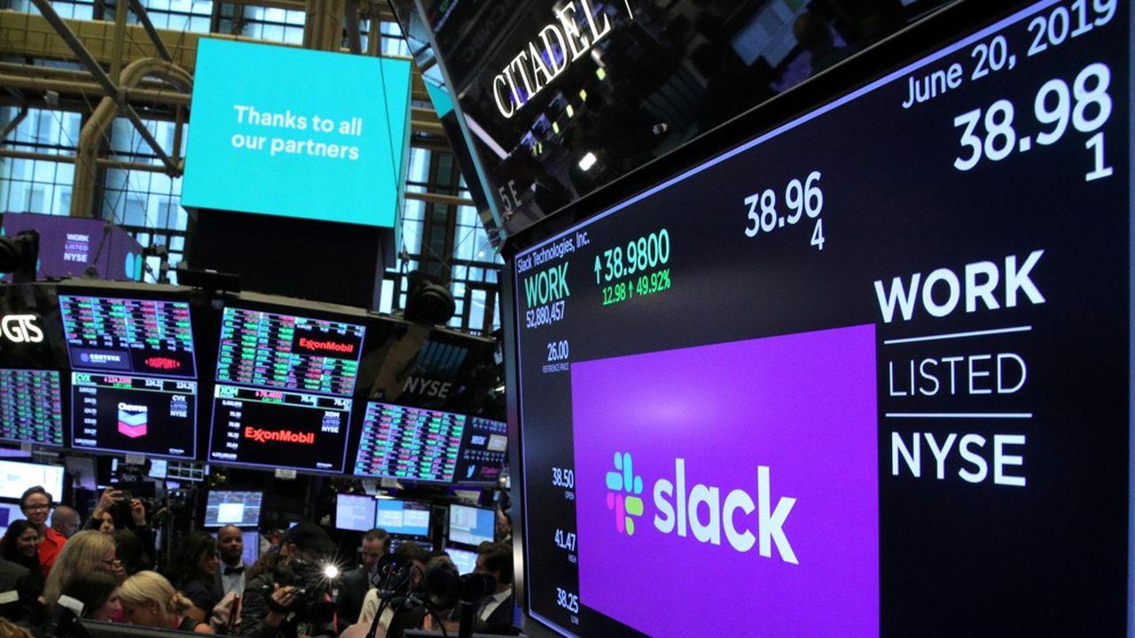 L'annonce a fait s'envoler le cours de Slack de 32% et même conduit à sa suspension pendant quelques minutes mercredi.