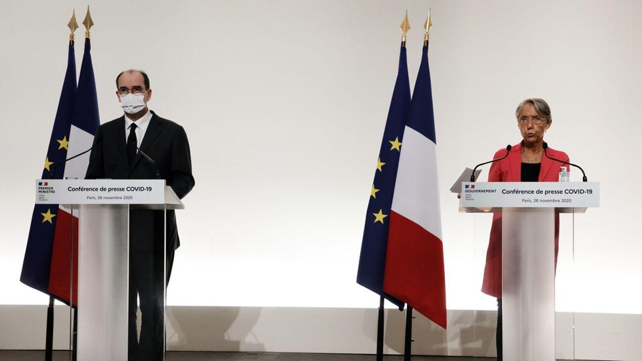 Elisabeth Borne et Jean Castex lors du point presse du 26 novembre.