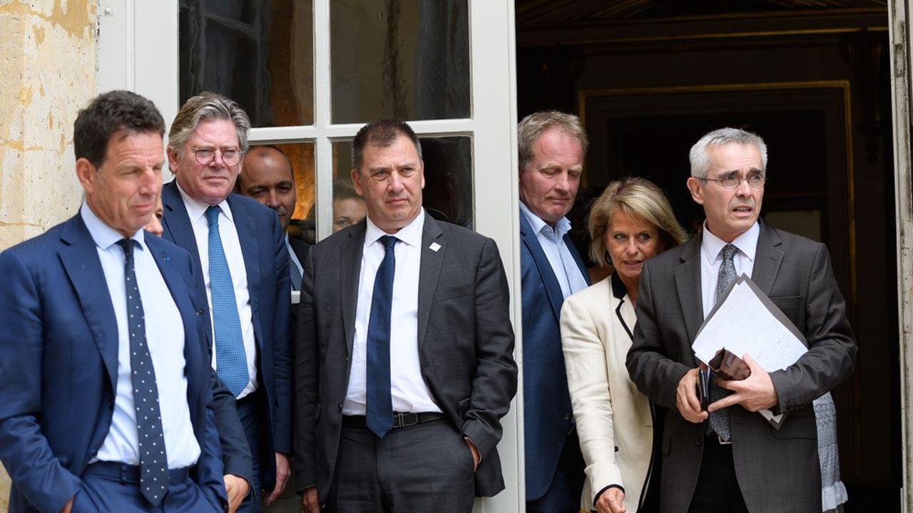 Les leaders patronaux et syndicaux mi-juillet, à la sortie de Matignon.