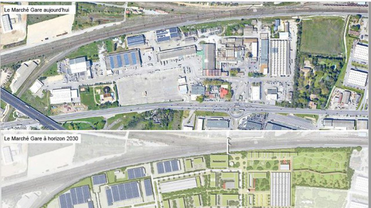 Une vue aérienne actuelle du Marché-Gare à Nîmes, et une perspective du projet de requalification.
