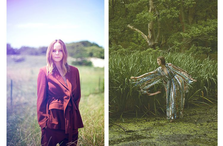 À droite, la robe zéro déchet fabriquée à partir de 24 imprimés différents. En édition limitée, c'est un vêtement emblématique de la collection printemps 2021, dont Stella McCartney (photo à gauche) a voulu penser chaque pièce «comme une solution écologique ».©Samantha Casolari, DR