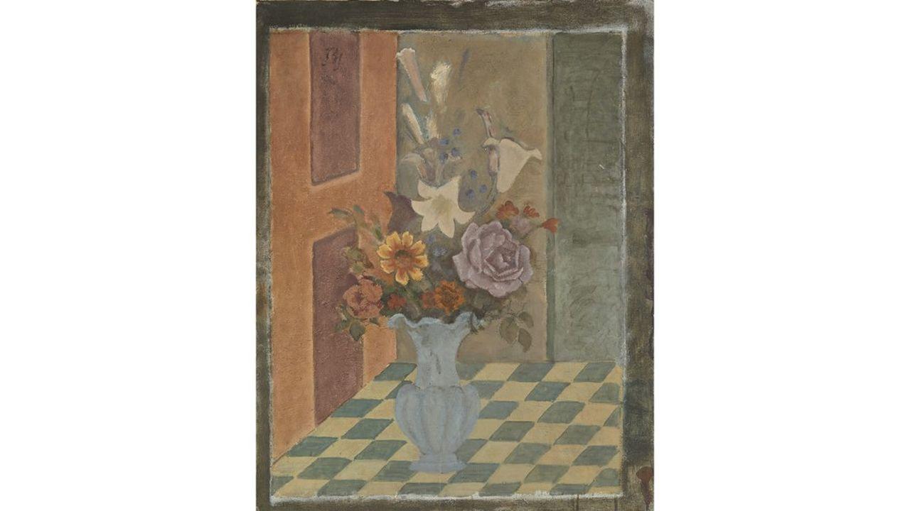 BALTHUS. Le vase bleu - 1963 / 1964. Huile sur toile - 89x70cm. Estimation : 100 000 - 150 000