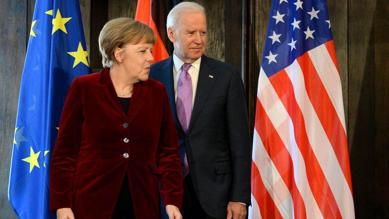 Joe Biden (ici avec Angela Merkel) est perçu comme beaucoup plus pro-européen que Donald Trump.