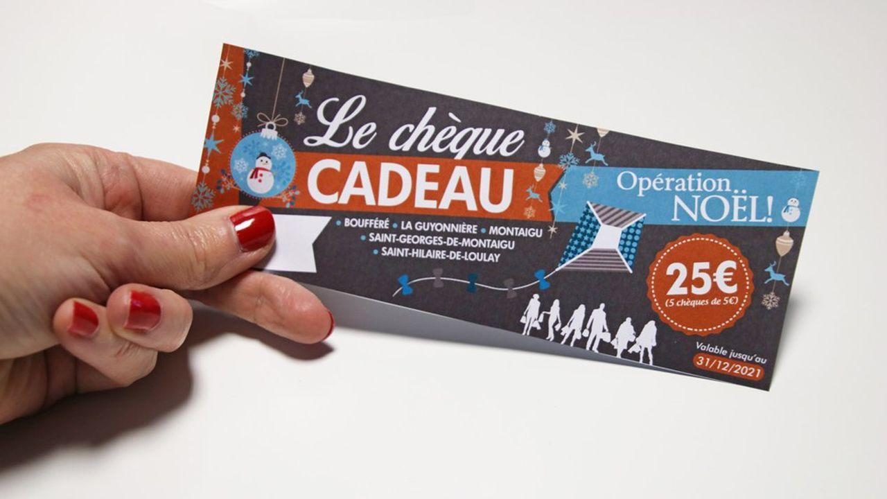 Chaque chéquier-cadeau comporte 5 chèques d'une valeur de 5euros, à dépenser exclusivement chez les commerçants de Montaigu-Vendée adhérents au dispositif.