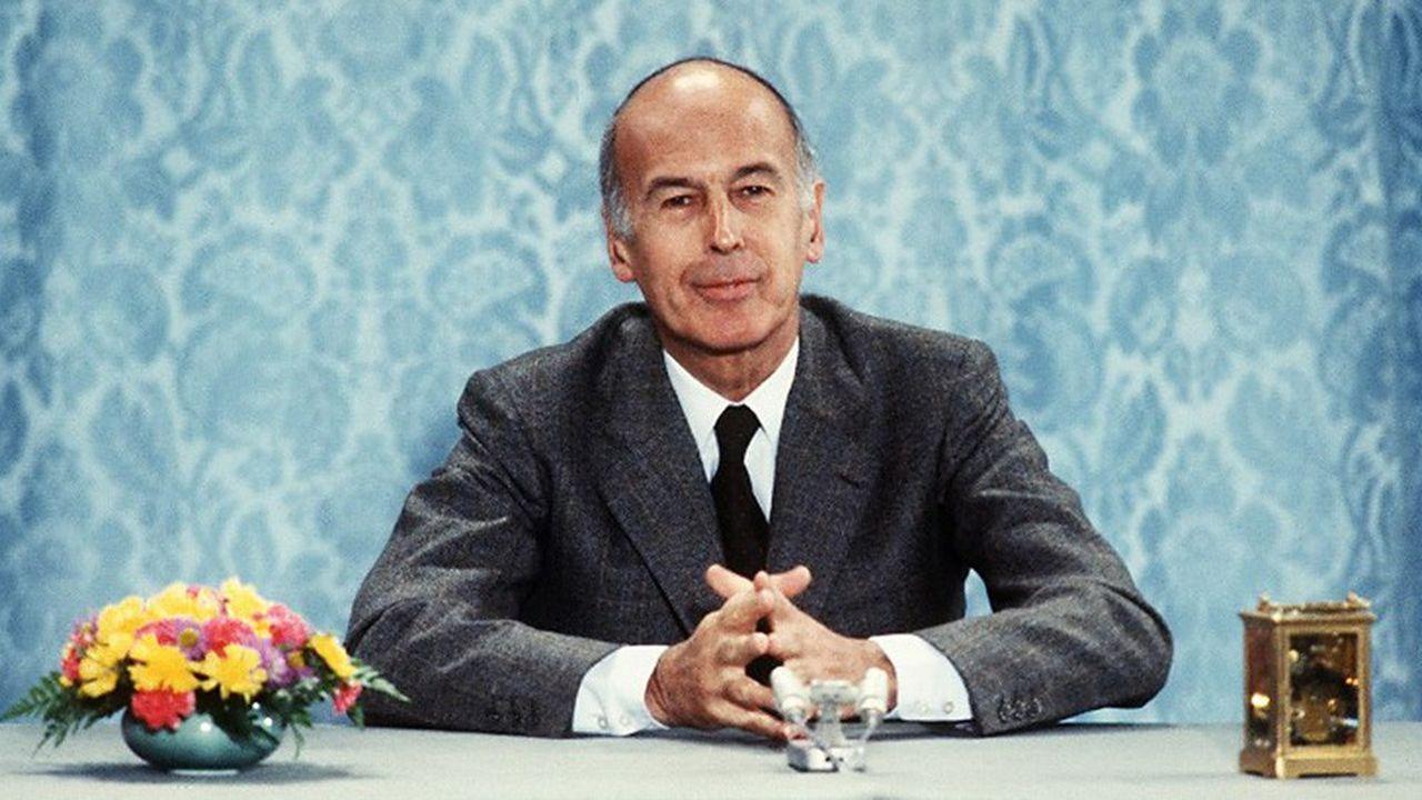 Le président de la république Valéry Giscard d'Estaing répond aux questions des journalistes lors d'une conférence de presse, le 26juin 1980 à l'Elysée à Paris