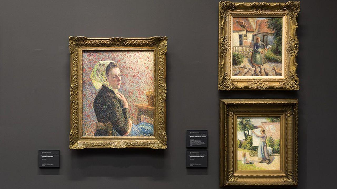 En haut, « La Bergère rentrant des moutons » (1886), de Camille Pissarro, actuellement exposée au musée d'Orsay.
