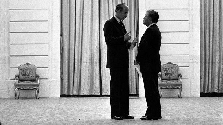 Le 4février 1977, Valery Giscard d'Estaing et le chancelier allemand Helmut Schmidt, à l'Elysée à Paris.
