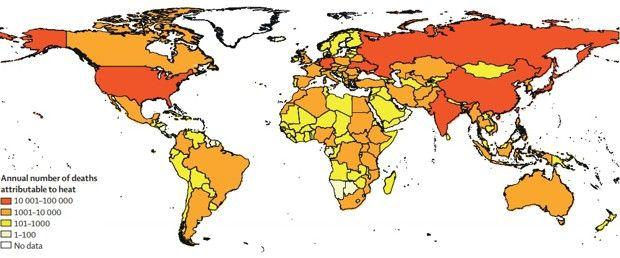 Mortalité annuelle liée à la chaleur dans la population de plus de 65 ans de 2014 à 2018.