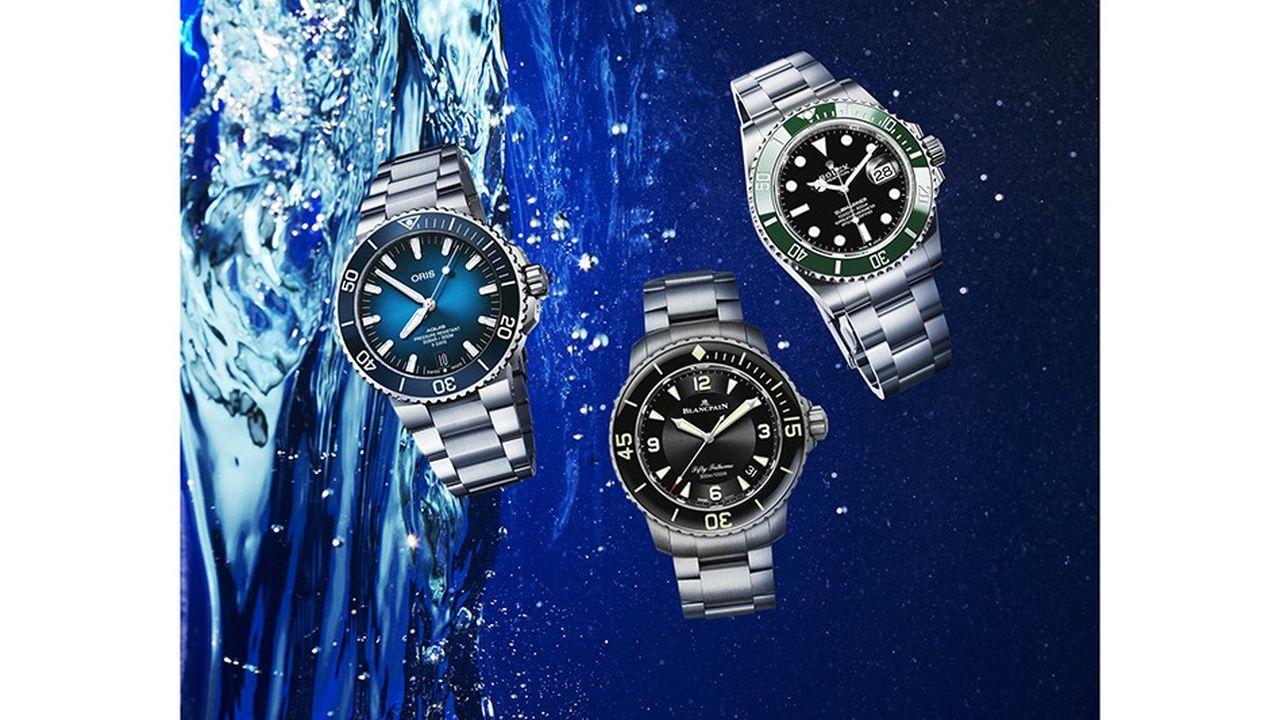 Les montres de plongée Oris, Blancpain et Rolex.