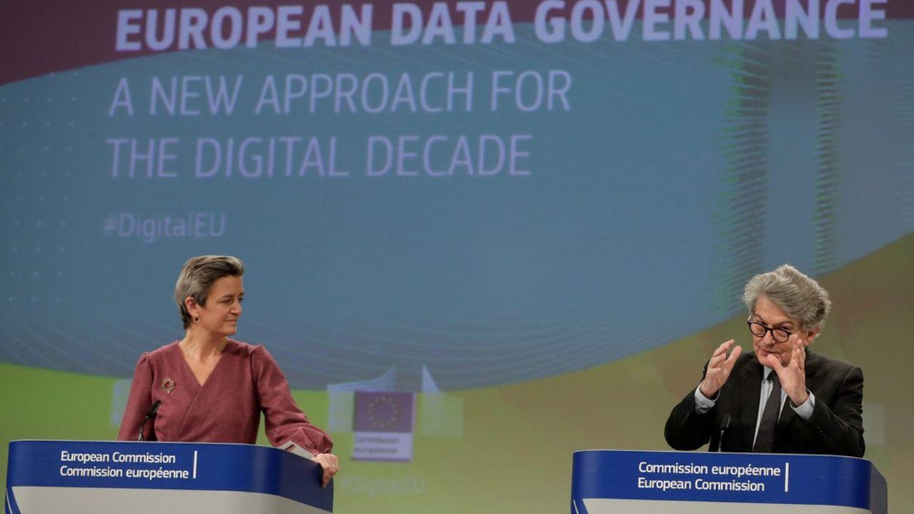 Margrethe Vestager et Thierry Breton ont la charge d'un lourd dossier érigé en priorité de son mandat par Ursula von der Leyen, la présidente de la Commission européenne.