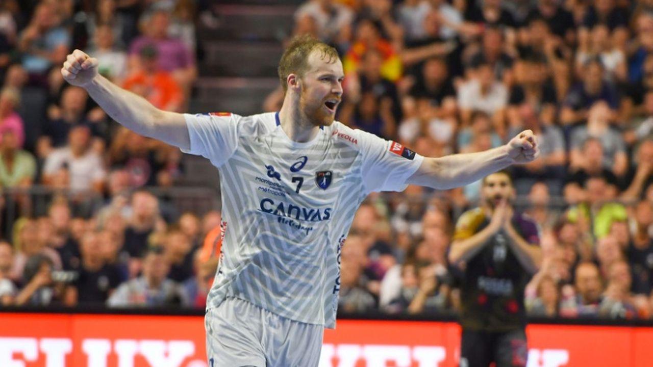 La joie du handballeur lituanien de Montpellier, Jonas Truchanovicius, après un but marqué contre Nantes, lors du Final Four en Ligue des Champions, le 27 mai 2018 à Cologne