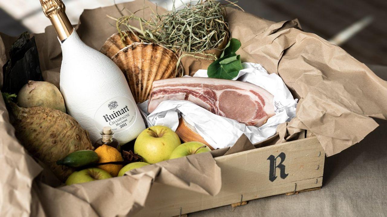 Le panier recettes d'Antonin Bonnet prêt cuisiner chez soi pour Ruinart.